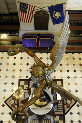 The casket with the remains of an enslaved man known as Mr. Fortune at the Capitol in Hartford, Conn., Thursday, Sept. 12, 2013.  Mr. Fortune will be honored Thursday with a funeral more than 200  ...