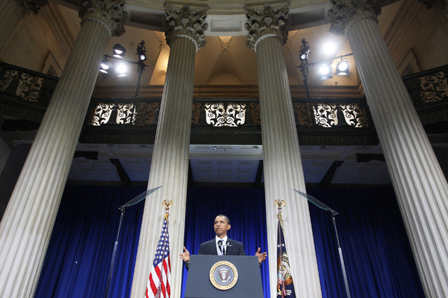 FILE - In the Sept. 14, 2009, file photo President Barack Obama speaks about the financial crisis on the anniversary of the collapse of Lehman Brothers at Federal Hall on Wall Street in New York.  ...