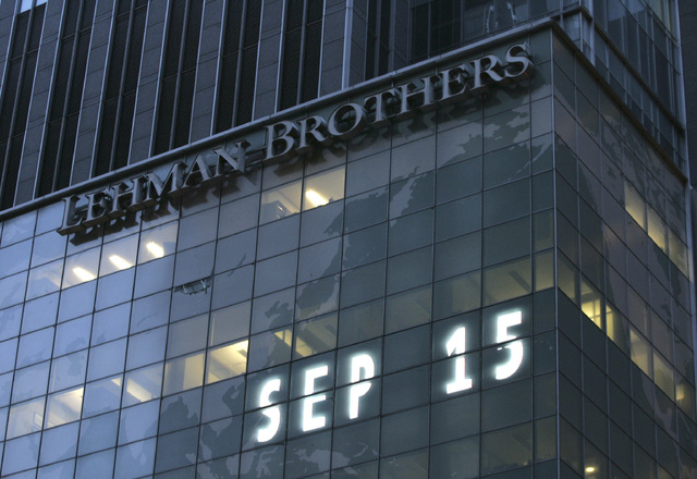 FILE - In this Sept. 15, 2008 file photo, Lehman Brothers world headquarters is shown in New York, the day the 158-year-old investment bank, choked by the credit crisis and falling real estate val ...