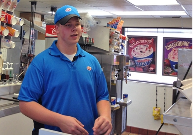 In this screen grab provided by WCCO TV is Dairy Queen employee Joey Prusak in Hopkins, Minn.  Prusak is winning praise for his treatment of a visually impaired customer who unwittingly dropped a  ...