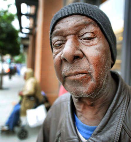 Thomas Williams, homeless, was driven to Pasadena from Los Angeles with 6-7 homeless people and spent overnight waiting in line at the Apple Store in Old Pasadena to purchase 2 iPhones for a buyer ...
