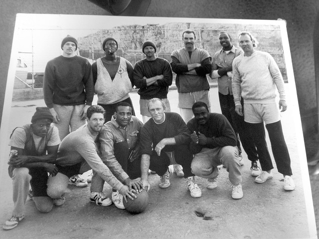 Juan High, also known as Juan X, pictured at top, second from right, with fellow state prisoners in 1986. High, who converted to Islam while still incarcerated, recently founded Save A Life Today, ...
