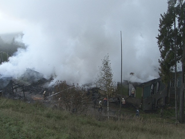 Smoke rises from a psychiatric hospital in the Novgorod region town of Luka in this September 13, 2013 picture provided by the Russian Emergencies Ministry. The fire raged through the Russian psyc ...