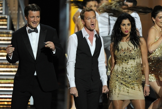 Nathan Fillion, from left, Neil Patrick Harris, and Sarah Silverman perform on stage at the 65th Primetime Emmy Awards at Nokia Theatre on Sunday in Los Angeles.  (Chris Pizzello/Invision/AP)