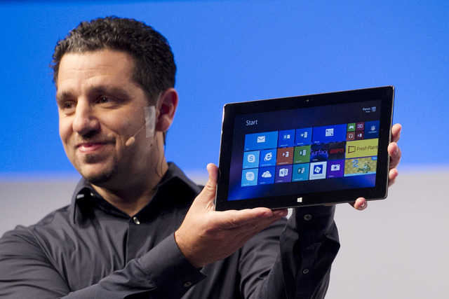 Panos Panay, corporate vice president of Microsoft, introduces a new Surface tablet, Monday, Sept. 23, 2013 in New York. Microsoft is introducing new Surface tablet computers and accessories, incl ...