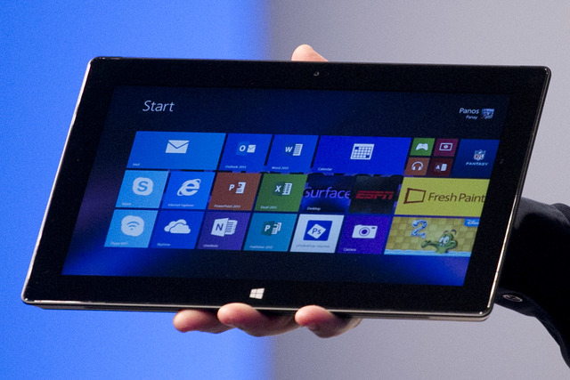 Microsoft's Surface Pro 2 is introduced, Monday, Sept. 23, 2013 in New York. The Surface Pro 2, is targeted at professionals who want the full power of a laptop in a tablet-style device. The kicks ...