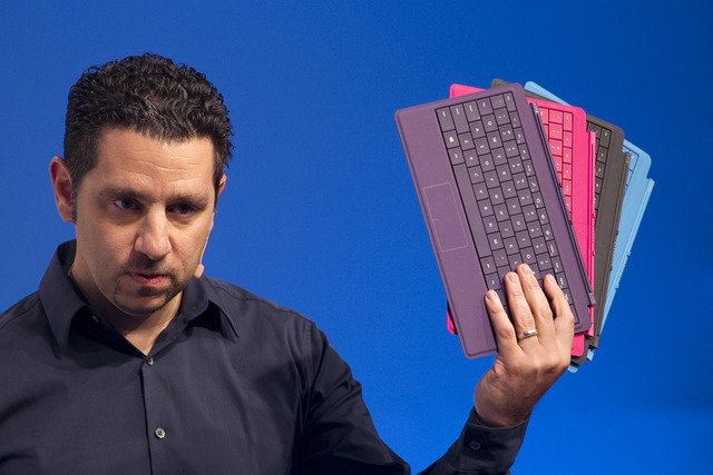 Panos Panay, corporate vice president of Microsoft, introduces the new Type Cover 2 colors for the Surface tablet, Monday, Sept. 23, 2013 in New York. Microsoft is introducing Monday new Surface t ...