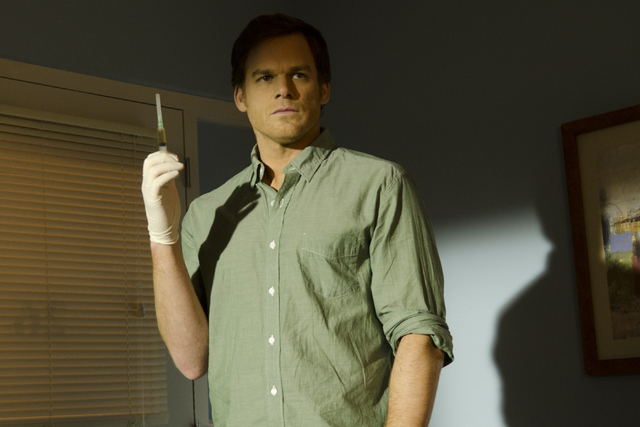 "This undated publicity image released by Showtime shows Michael C. Hall as Dexter Morgan in a scene from ""Dexter.""  The final episode airs Sunday, Sept. 22, at 9 p.m. EST on Showtime. (A ..."