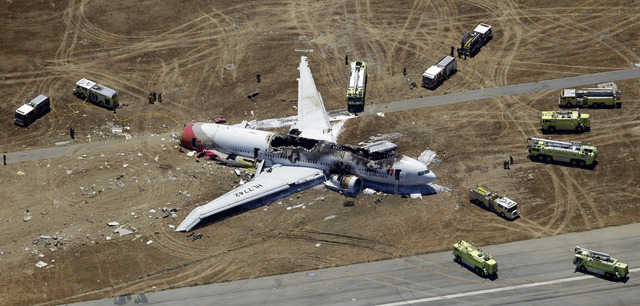 The wreckage of Asiana Flight 214 lies on the ground after it crashed on July 6 at San Francisco International Airport. In the first investigation of its kind, federal transportation officials are ...