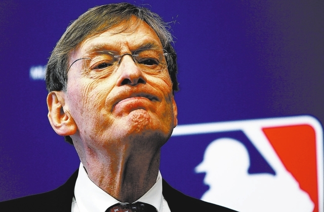 FILE - In this May 12, 2011, file photo, Major League Baseball Commissioner Bud Selig listens to a question during a news conference in New York. Selig said in a formal statement Thursday, Sept. 2 ...
