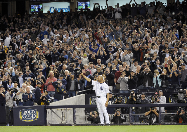 New York Yankees relief pitcher Mariano Rivera tips his cap to the fans during the ninth inning of the Yankees' baseball game against the Tampa Bay Rays on Thursday, Sept. 26, 2013, at Yankee Stad ...