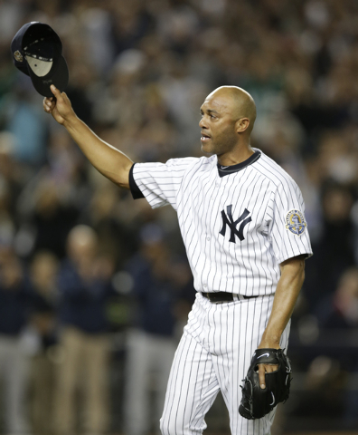 New York Yankees relief pitcher Mariano Rivera tips his cap in the ninth inning of his final appearance in a baseball game at Yankee Stadium, against the Tampa Bay Rays on Thursday, Sept. 26, 2013 ...