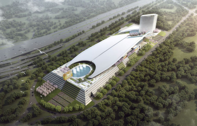 An artist's rendering shows the      resort being planned by MGM Resorts International on property alongside Interstate 495 and overlooking the Potomac River outside Washington DC.   MGM is one of ...