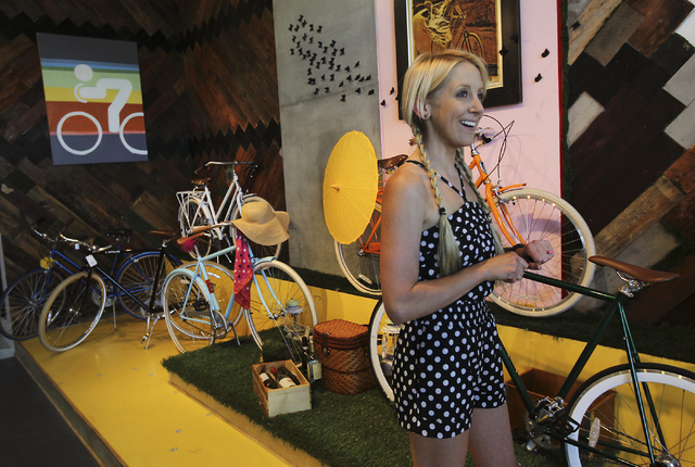 Amie Pellegrini hangs out in her newly opened shop The Town Bike at the Juhl condo building in Las Vegas on Sept. 17, 2013. (Jason Bean/Las Vegas Review-Journal)