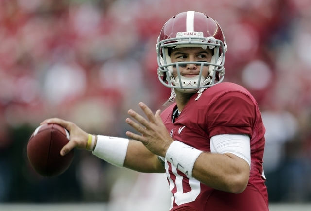 Alabama quarterback AJ McCarron warms up prior to an NCAA college football game against Colorado State in Tuscaloosa, Ala., Saturday, Sept. 21, 2013. (AP Photo/Dave Martin)