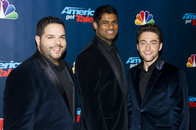 "Members of the operatic group ""Forte,"" from left, Fernando Varela, Sean Panikkar and Josh Page walk the pre-show red carpet for ""America's Got Talent"" on Tuesday, Sept. 17, 201 ..."