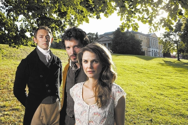 Left to right: JJ Feild as Mr. Henry Nobley, Bret McKenzie as Martin and Keri Russell as Jane Hayes Photo by Giles Keyte, Courtesy of Sony Pictures Classics