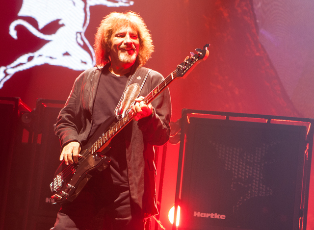 Geezer Butler of Black Sabbath performs at the MGM Grand Garden Arena in Las Vegas on Sunday, Sept. 1, 2013. (Chase Stevens/Las Vegas Review-Journal)