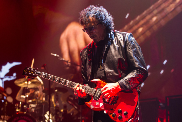 Tony Iommi of Black Sabbath performs at the MGM Grand Garden Arena in Las Vegas on Sunday, Sept. 1, 2013. (Chase Stevens/Las Vegas Review-Journal)