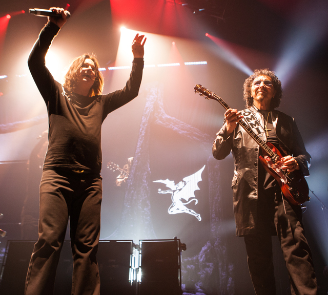Ozzy Osbourne, left, and Tony Iommi of Black Sabbath perform at the MGM Grand Garden Arena in Las Vegas on Sunday, Sept. 1, 2013. (Chase Stevens/Las Vegas Review-Journal)