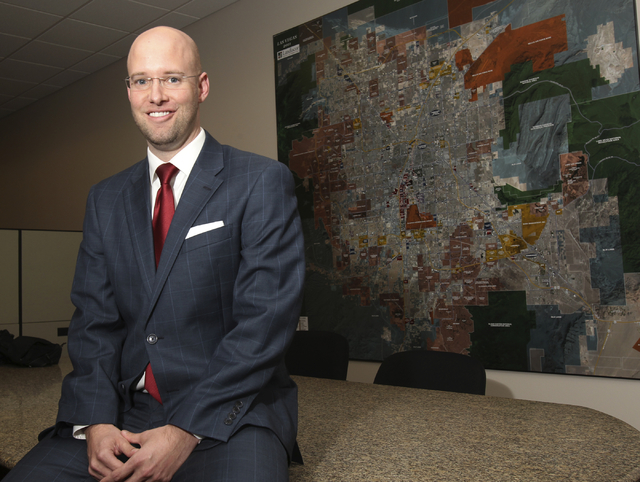 Jonas R. Peterson, chief operating officer of Las Vegas Global Economic Alliance, poses in his Las Vegas office Thursday, Aug. 5, 2013. (K.M. Cannon/Las Vegas Review-Journal)