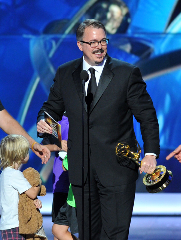 """Vince Gilligan accepts the award for outstanding drama series for """"Breaking Bad"""" at the 65th Primetime Emmy Awards at Nokia Theatre on Sunday. (Vince Bucci/Invision for Academy of Television Arts  ..."""