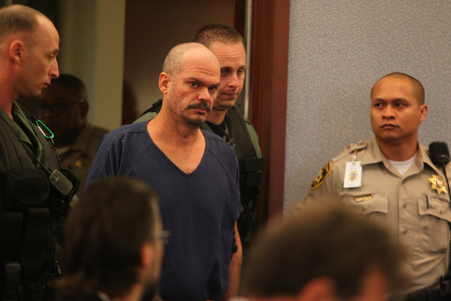 David Allan Brutsche, 42, makes his first appearance in front of Judge Conrad Hafen in Las Vegas Justice Court on Friday, Aug. 23, 2013. Brutsche faces charges of attempted murder and conspiracy t ...