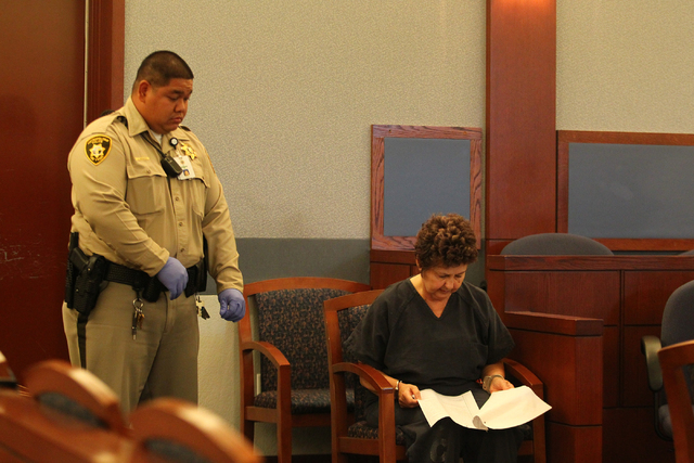 Devon Campbell Newman, 67, makes her first appearance in front of Judge Conrad Hafen in Las Vegas Justice Court on Friday, Aug. 23, 2013. Newman faces charges of attempted murder and conspiracy to ...