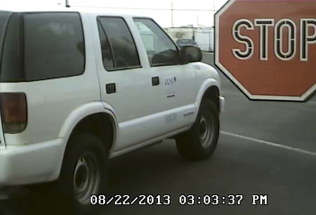 COURTESY A video shows the view from a camera mounted on a Clark County School District bus.