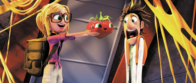 Sam (Anna Faris) holds Barry for Flint (Bill Hader) in Sony Pictures Animation's CLOUDY WITH A CHANCE OF MEATBALLS 2.