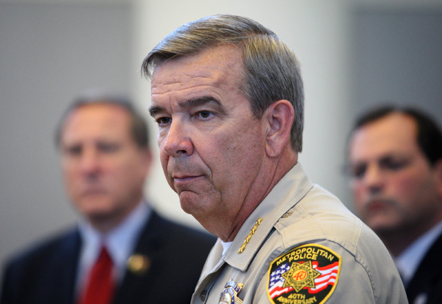 Clark County Sheriff Doug Gillespie appears at a press conference discussing a six-month Department of Justice review of the Las Vegas Metropolitan Police Department's use of force policies and pr ...