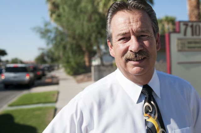 Frank DiCerbo, owner of Templar Security and Protective Services, poses for a photograph outside of his office, Friday, Sept. 13 in Las Vegas, Nev. DiCerbo used the Nevada Collateral Support Progr ...