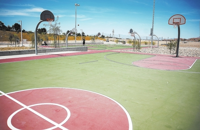 Basketball courts are among amenities at Cornerstone Park, 1600 Wigwam Parkway, Henderson. (Martin S. Fuentes/View)