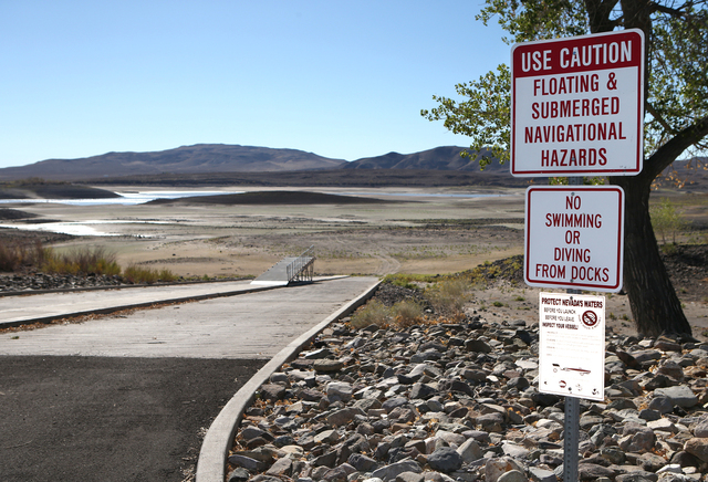 Water levels are far below normal at the Lahontan Reservoir, near Fallon, Nev., on Thursday, Sept. 19, 2013. (Cathleen Allison/Las Vegas Review-Journal)