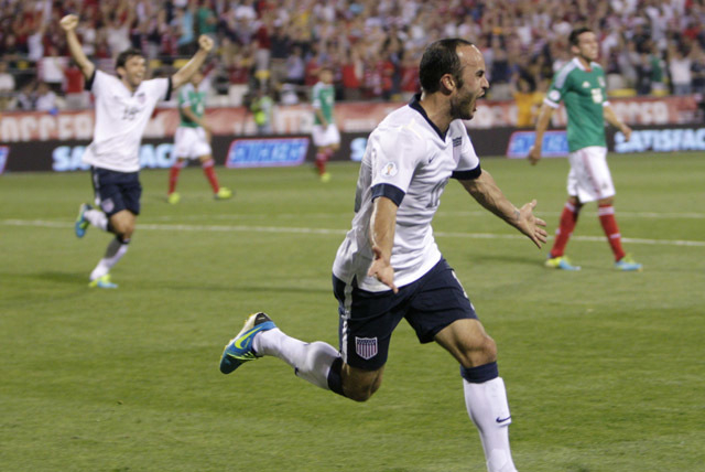 United States' Landon Donovan celebrates his goal against Mexico during the second half of a World Cup qualifying soccer match Tuesday, Sept. 10, 2013, in Columbus, Ohio. The United States defeate ...