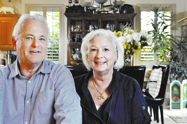 Bill Hughes/Las Vegas Review-Journal Harvey Levy, shown with his wife, Jane, at their home in Henderson, has Alzheimer's disease. He participated in a drug trial sponsored by the Cleveland C ...