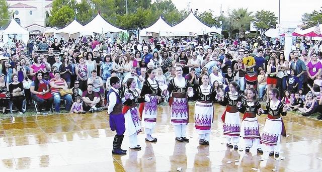 Children of St. John the Baptist Greek Orthodox Church, 5300 S. El Camino Road, in Las Vegas, perform a traditional Greek dance at the Las Vegas Greek Festival in September 2012. (Stephen Carabas/ ...