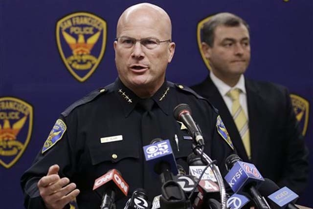 San Francisco Police Chief Greg Suhr speaks at a news conference in San Francisco, Thursday, Sept. 26, 2013. Police arrested two people in the fatal stabbing of a Los Angeles Dodgers baseball fan  ...