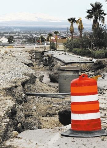 Flood damage is seen next to Grand Teton in Las Vegas on Sept. 4, 2013. (Jason Bean/Las Vegas Review-Journal)