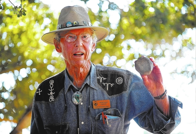 Harold Larson displays the fossil that he found earlier this summer at Spring Mountain Ranch State Park on Saturday, Sept. 14, 2013. Larson and several dozen UNLV students and volunteers surveyed  ...