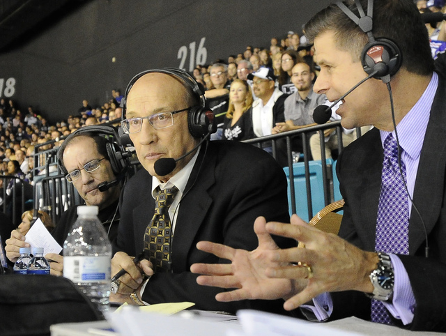 Los Angeles Kings announcers Bob Miller(left) and Jim Fox call the action during a game between the New York Rangers at MGM Grand Garden Arena in Las Vegas September 27, 2013.(Josh Holmberg/Las Ve ...