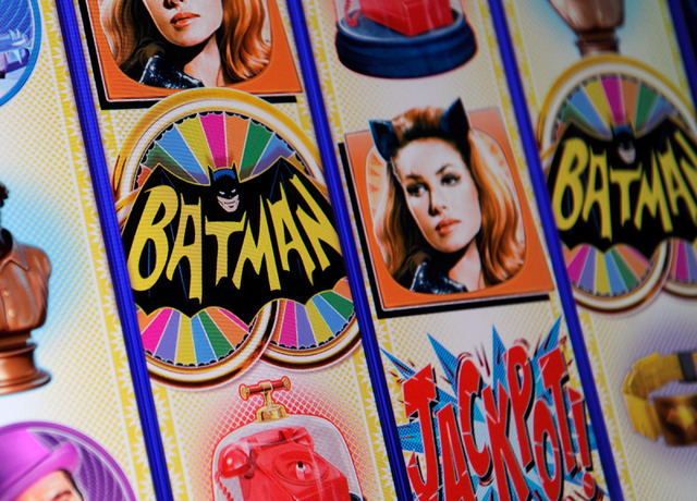 A general view of the Batman slot machine at the Aristocrat Technology booth during G2E at the Sands Expo and Convention Center on Wednesday, Sept. 25, 2013. (David Becker/Las Vegas Review-Journal)