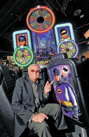 Adam West appears at the Aristocrat Technology booth to unveil the Batman slot machine during G2E at the Sands Expo and Convention Center on Wednesday, Sept. 25, 2013. West was the actor who portr ...
