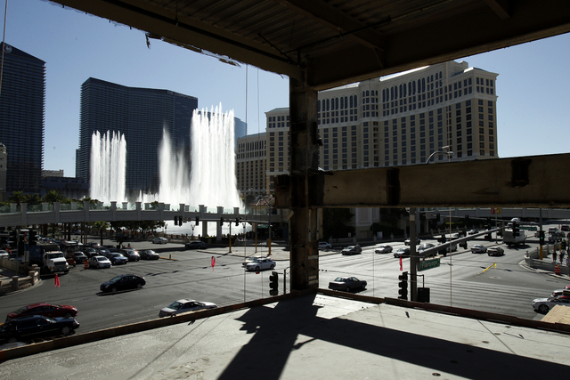 Properties on the Strip can be seen through construction at the Ganesvoort in Las Vegas Thursday, Sept. 19, 2013. (John Locher/Las Vegas Review-Journal)
