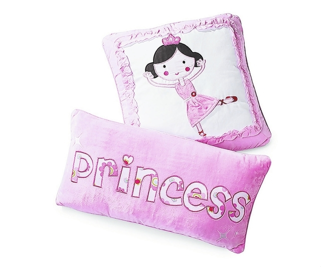 Photo courtesy Home Goods Pink princess pillows would be ideal accents for a young girl's room.
