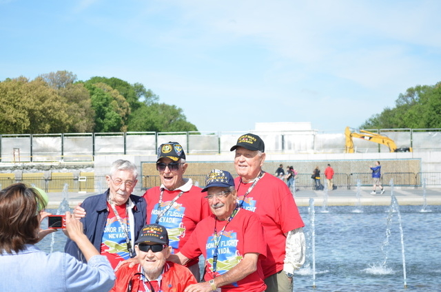 World War II veterans from Southern Nevada stand by the memorial in Washington D.C. Honor Flight Southern Nevada pays to fly the veterans to see the memorial. (Special to View)