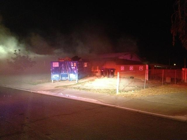"""North Las Vegas fire officials said a vacant house at 2120 Hassell Ave. was a """"complete loss"""" after a fire Thursday night. (Courtesy/North Las Vegas Fire Department)"""