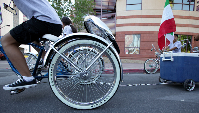 A low rider biker waits for the start of the Fiesta Las Vegas Latino Parade downtown on Saturday, Sept. 15, 2012. (Justin Yurkanin/Las Vegas Review-Journal).