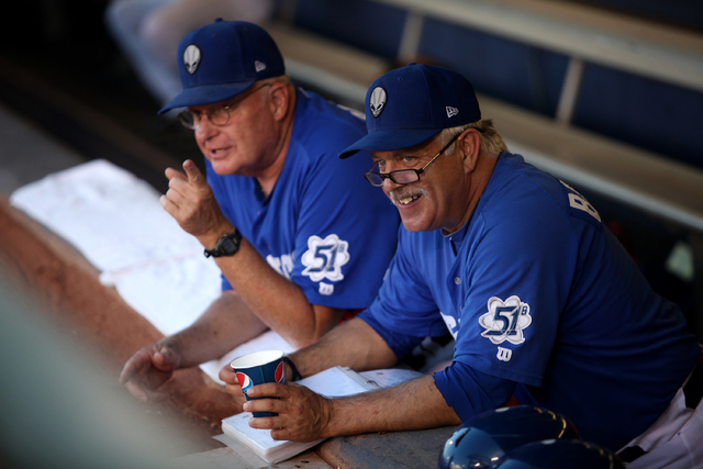 Las Vegas 51s manager Wally Backman, right, chats with hitting coach George Greer before the Las Vegas 51s face off against the Tucson Padres in baseball at Cashman Field in Las Vegas Sunday, Sep. ...