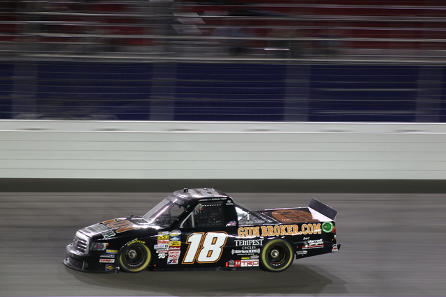 Joey Coulter races during the Smith's 350 NASCAR Camping World Truck Series at the Las Vegas Motor Speedway on Saturday, Sept. 28, 2013. (Chase Stevens/Las Vegas Review-Journal)